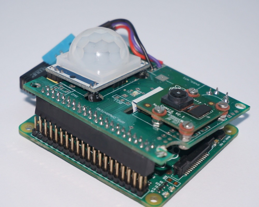 Sensor Hat positioned on top of Raspberry Pi Model A+